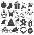 Black and White Christmas Icons Set vector image