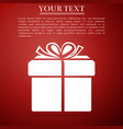 gift box icon isolated on red background vector image