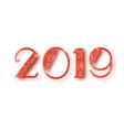 2019 glitter typography design red sparkling vector image