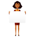 african american manager woman holding sign banner vector image vector image