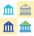 bank building icon set in flat and line style vector image