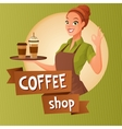 Barista waitress with cups coffee showing ok sign vector image vector image