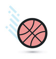 basketball ball is flying vector image