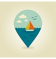 Boat with a Sail pin map icon Summer Sun Sea vector image
