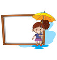 border template with girl and yellow umbrella vector image vector image
