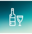 Bottle of whisky and a glass thin line icon vector image vector image