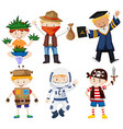 Boys in different costumes vector image vector image
