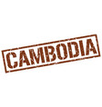 cambodia brown square stamp vector image vector image