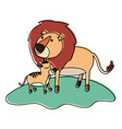 cartoon lion and cub over grass in watercolor vector image vector image