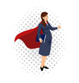 cartoon of a super businesswoman vector image vector image