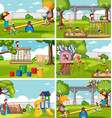 children at playground set vector image vector image