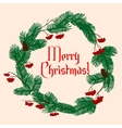 Christmas holiday green wreath with decorations vector image