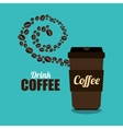 coffee cup brown and beans graphic vector image vector image