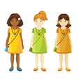 collection of cute little girls with different vector image
