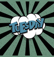 comic text tuesday cartoon cloud retro vector image vector image