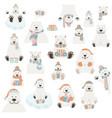 cute polar bear sticker set elements for vector image vector image