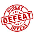 defeat red grunge stamp vector image vector image