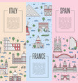 european travel tour posters in linear style vector image vector image