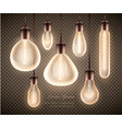 figure set a luminous light bulb on a vector image