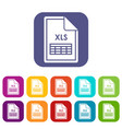 file xls icons set vector image vector image