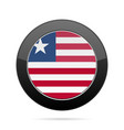 flag of liberia shiny black round button vector image vector image