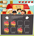 Game template with children and cake vector image