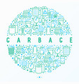 garbage concept in circle with thin line icons vector image vector image