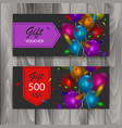 gift voucher card set template with colorful vector image vector image