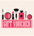 gift voucher of makeup cosmetics vector image vector image