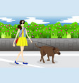 girl walking with her dog in the park vector image