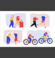 grandparents active lifestyle scenes set vector image