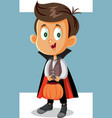 halloween boy in vampire costume going trick or vector image