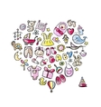 Heart shape design with toys for baby girl vector image vector image