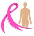Human body and pink ribbon vector image vector image