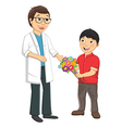Kid Give Flower To Teacher vector image vector image