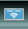 laptop with free wi-fi sign on screen vector image