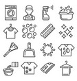 laundry and cleaning icons set line style vector image