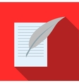 Letter with pen icon flat style vector image vector image