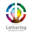 lettering m rainbow alphabet design vector image