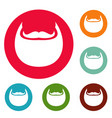 man beard icons circle set vector image
