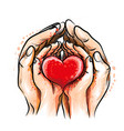 mother and child hands hold a red heart vector image