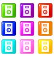 music speaker icons 9 set vector image