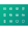 Newspaper icons on green background vector image