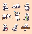 panda cartoon character in various expression vector image vector image