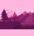 park bench in the coniferous forest vector image