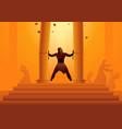 samson held pillars temple and pushing vector image vector image