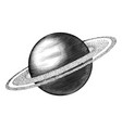 saturn hand drawing vintage style black and white vector image