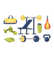 set gym equipment design elements sport bag vector image