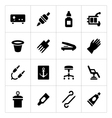 Set icons of tattoo equipment and accessories vector image