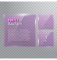Set of transparent reflecting square purple glass vector image